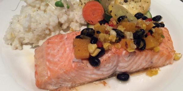 Baked Salmon With Roasted Corn Bean And Squash Relish Msu Health4u